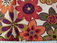 Drapery Upholstery Fabric Cotton Duck Retro Floral Design - Pumpkin Orange