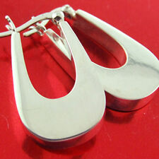 CYF192 GENUINE HALLMARKED REAL 925 STERLING SILVER ITALIAN DESIGN HOOP EARRINGS