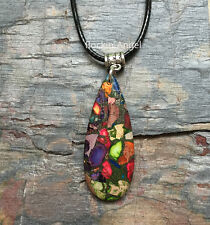 Rainbow Sea Sediment Jasper & Pyrite Teardrop Necklace Pendant Reiki Healing