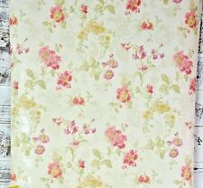York Wallcoverings Pink Purple Yellow Green Designer Floral on Cream Wallpaper