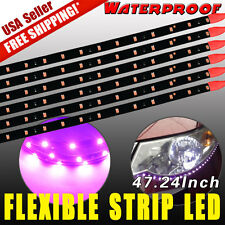 6 PCS Waterproof 120CM 2835SMD Car Motors Truck LED Flexible Strip Lights Purple