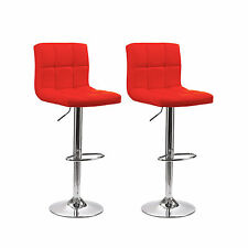 2 x NEW FAUX LEATHER BREAKFAST KITCHEN BAR STOOL PU CHROME BLACK RED CREAM