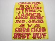 $ CAR DEALER 10 dozen NEW WINDOW ADVERTISE SLOGANS STICKERS 10K-1 red/yellow