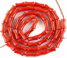 Carved Red Ocean Coral 4x8mm bamboo Gemstone Beads 15''