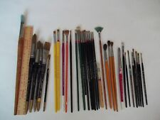 "Large Lot of 34 Used Artist Paint Brushes some 12""+"
