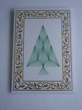 HAND MADE CHRISTMAS CARD EMBOSSED WITH FOIL BORDER, HAND SEWN CHRISTMAS TREE