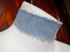 WIDE TATTERED DENIM BAND CHOKER Jeans 90s frayed punk collar retro light blue S6