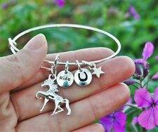 Horse Expandable Wire Bangle Bracelet Pony Horseshoe Sterling Silver Plt Charms