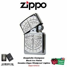 Zippo Exquisite Compass Lighter, Black Ice Finish, Windproof #29232