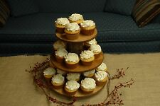 Cupcake Donut Stand (Tower Holder) 3 Tiers Wedding Party Wooden Rustic Bark