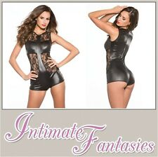 Sexy Black Lace & Wet Look Jumpsuit Catsuit Dominatrix Cosplay Size 8 10 12