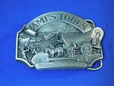 Vintage 1986 Ames Tools Pioneers Conquer the West Belt Buckle #2206 Edition