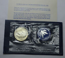 1972-S US UNC Eisenhower IKE $1 one dollar 40% silver,Blue Envelope, CoA!