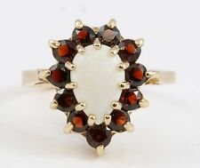 Ladies ONE OF A KIND 10k Yellow Gold Pear Shape Opal & Red Garnet Halo Ring Band