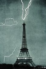 New 5x7 Photo: Lightning Caught Striking the Eiffel Tower in Paris, France
