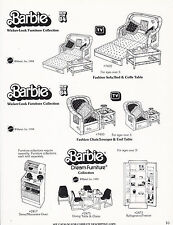 VINTAGE AD SHEET #3455 - 1984 MATTEL - BARBIE WICKER FURNITURE