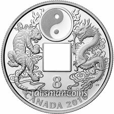 Canada 2016 Tiger Dragon Yin Yang Phoenixes $8 Silver Proof Chinese Square Hole