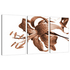 Set of 3 Brown Sepia Canvas Prints Pictures Living Room Wall Art 3055