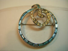 Vintage COROCRAFT brooch with PALE BLUE & CLEAR rhinestones