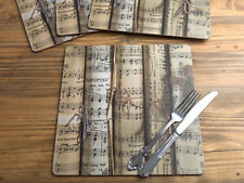 Set of 4 'MUSIC NOTES' Premium Square CORK-BACKED PLACEMATS