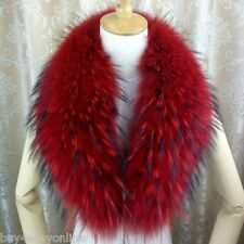 Red Real Raccoon Fur Collar scarf wrap shawl winter neck warmer 35.4inch F14