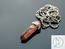 Rhodochrosite Crystal Point Pendant Natural Gemstone Necklace Healing Stone