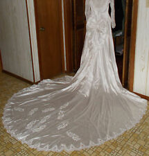 Alfred Angelo White Wedding Dress w/ Long Train Size 8 Medium Pearls Lace L Slve