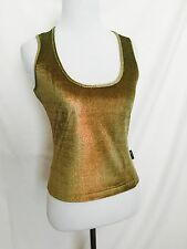 Versace Jeans Couture NWT Green Bronze Metallic Thread Vest Top. XS Price $34