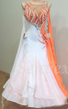 Ballroom Standard Tango Waltz Prom US 6 Dance Dress#B3501 White Cocktail