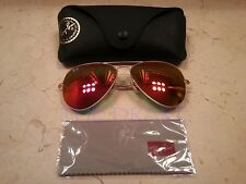 Ray Ban 62mm Orange/Red Flash lenses Mirror Large metal Aviator Sunglasses 3026