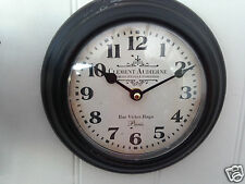 French Vintage Style  Brown CLEMENT AUDIERNE Metal Round Wall Clock