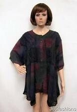 PLUS SIZE TIE DYE FLORAL EMBROIDERED TUNIC TOP MULTICOLOUR 16 18 20 22 24 26 28