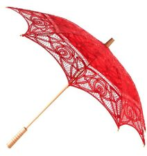 Red Parasol - Wedding Accessory Lace Sun Umbrella -  Holiday / Honeymoon NEW