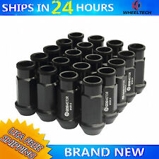 20 PCS 52mm Black Extended For M12X1.5 Honda Civic Acura Integra Wheel Lug Nuts