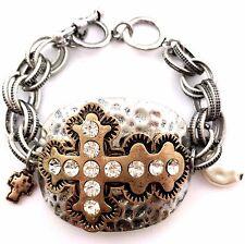 Western Vintage Hammered Plate Cross Chain Rhinestone Pearl Charm Bracelet