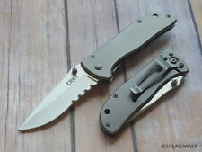 CRKT DRIFTER LARGE STAINLESS STEEL HANDLE SERRATED FOLDING KNIFE W/ POCKET CLIP