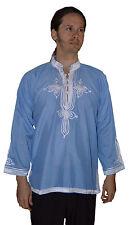 Ethnic Men V Neck Tunic Shirt Summer Cotton Moroccan Casual Fashion Medium