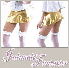 Super Short Gold Metallic Mini Sexy Skirt Cosplay Fancy Dress Size 10 12