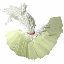 100 x 32mm x 22mm White Strung String Tags Swing Price Tickets Tie On Labels