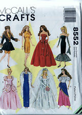 Sewing Pattern McCalls 8552 Barbie Wedding Dress Gown Clothes Gown Coat Hat UC