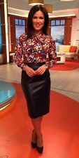 ZARA BLACK FAUX LEATHER MIDI SKIRT SIZE S AS SEEN ON Susanna Reid