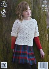 KNITTING PATTERN Childrens & Ladies Short Sleeve Cable Jumper/Top Aran KC 3955