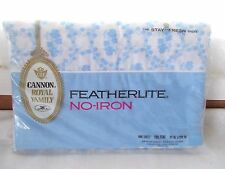 NIP Vintage Cannon Royal Family FeatherLite Flat Sheet Full Blue White Floral