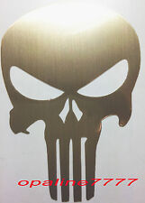 STICKER AUTOCOLLANT PUNISHER OR CHROME SKULL TETE DE MORT BIKER CASQUE MOTO
