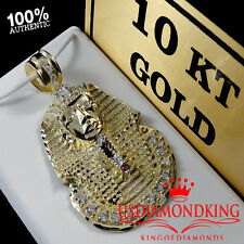 MENS 10K REAL GOLD EGYPTIAN PHARAOH KING TUT CHARM PENDANT 2.25 INCH 11.6 GRAMS