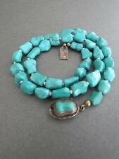 Vintage Chinese Turquoise Necklace Silver Filigree Clasp