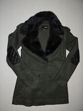 New Hurley Womens Sutherland Jacket Coat Faux Fur Collar Small