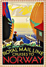 Art Ad Royal Mail Line   Norway 1925  Travel  Deco Poster Print
