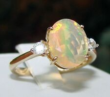 1.68ct Genuine Ethiopian Opal Solitaire with Accents 10k Solid Gold Ring, Size 7