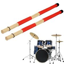 Pair of Jazz Drum Brushes Red Rubber Handle with White Nylon Drum Brush MC